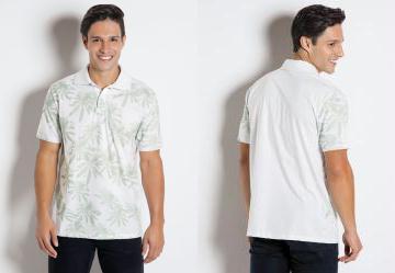 c7089df49b655 0.0 Camisa Polo com Estampa de Coqueiros Branca