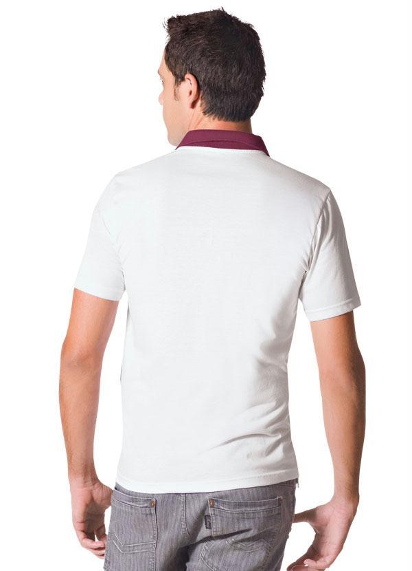 Queima de Estoque - Camisa Branca e Cinza com Gola Polo e Estampa ... 63efc1a4dd2bd