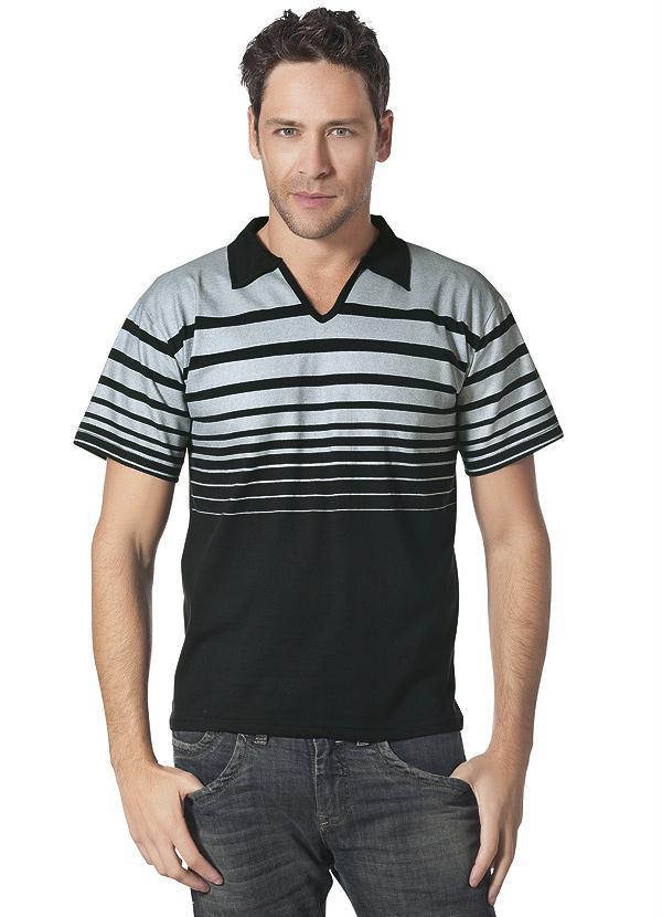 7402449cb7 Queima de Estoque - Camisa Gola V Preta - Queima de Estoque