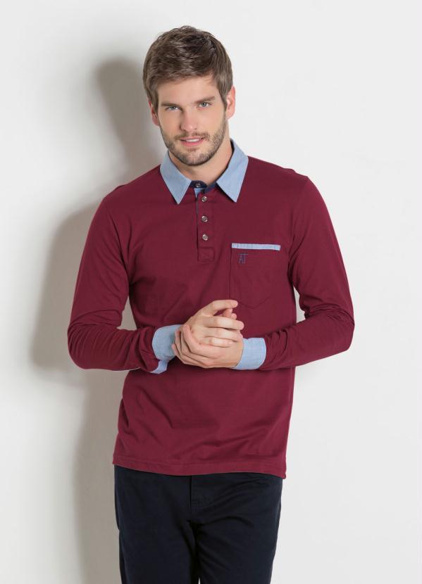85061fc97b0a2 Camisa Manga Longa Vinho - Actual