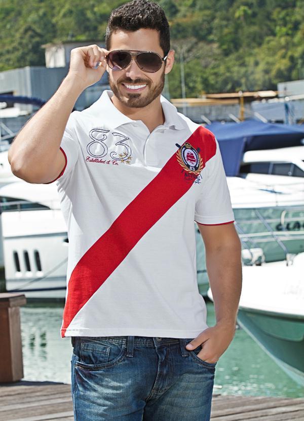 40d65cd22c Moda pop - Camisa Polo Branca e Vermelha Manga Curta - Moda Pop