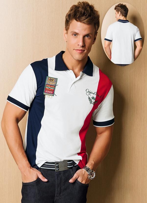 Camisa Polo Masculina Branco Estampado - Actual 2c692bc027713