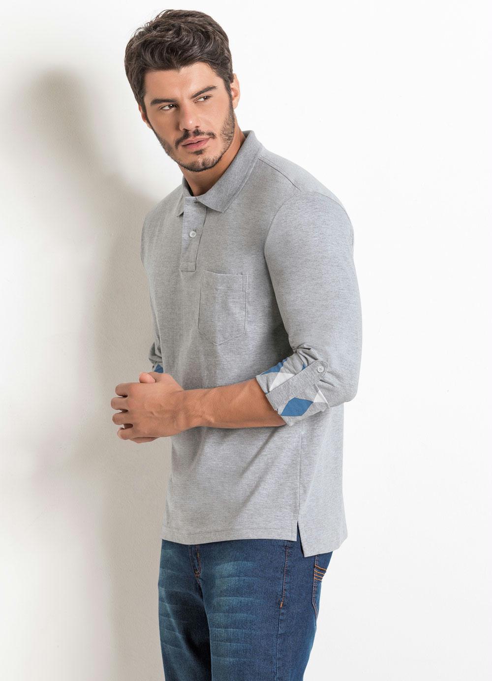 d8ad67ee2f8df Camisa Polo Manga com Estampa Interna Cinza - Actual