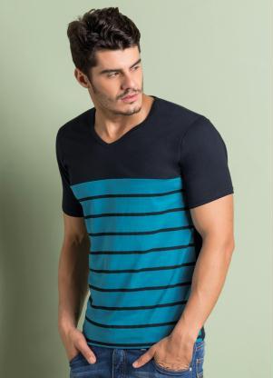b888e747c9 Moda Pop - Camiseta Estampa Listrada Preta e Azul