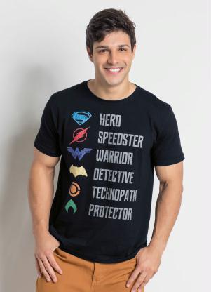 Multimarcas - Camiseta Manga Curta Liga da Justiça Preta 6d0b5758155