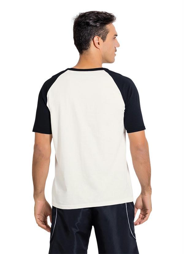 39e94300c Queima Estoque - Camiseta Branca e Preta com Manga Raglan - Queima ...