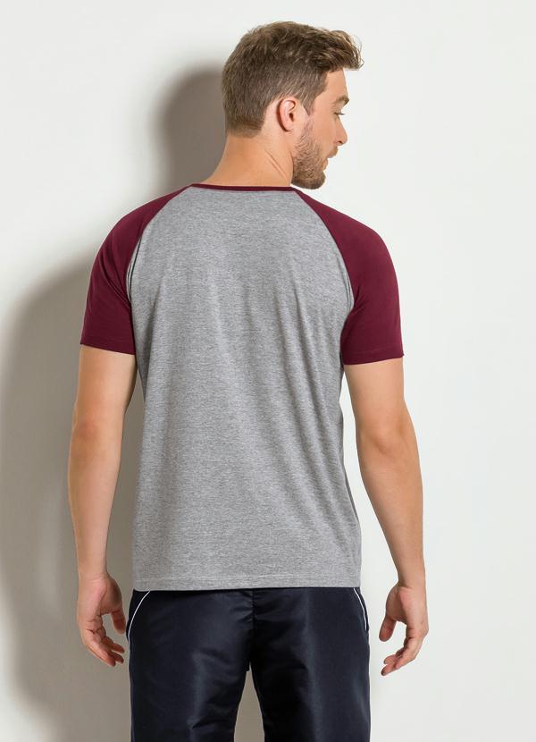 Camiseta Cinza e Bordô com Manga Raglan - Queima de Estoque