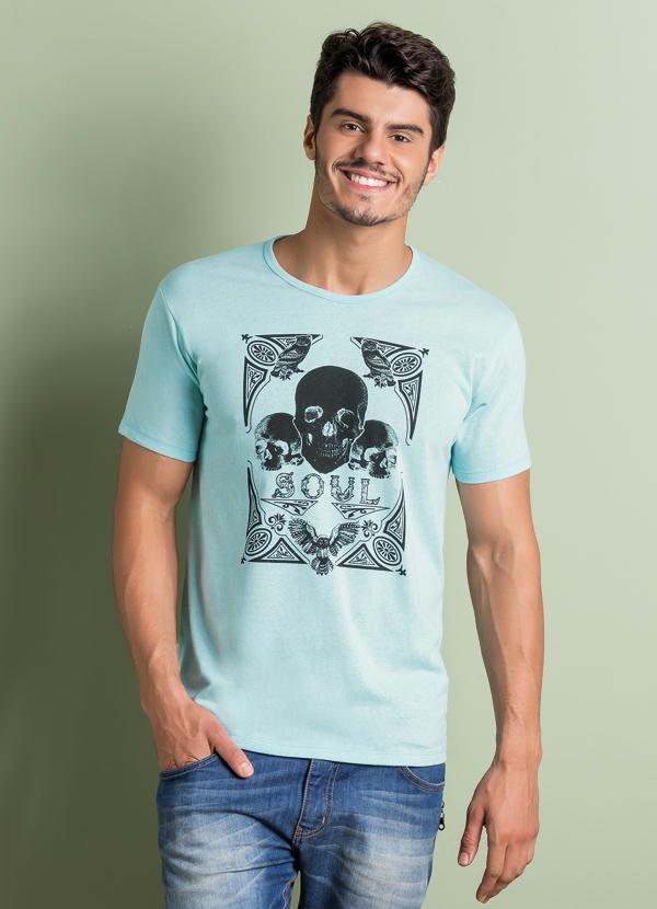 37d7b1919f Queima de Estoque - Camiseta Estampa Caveira Frontal Azul - Queima ...