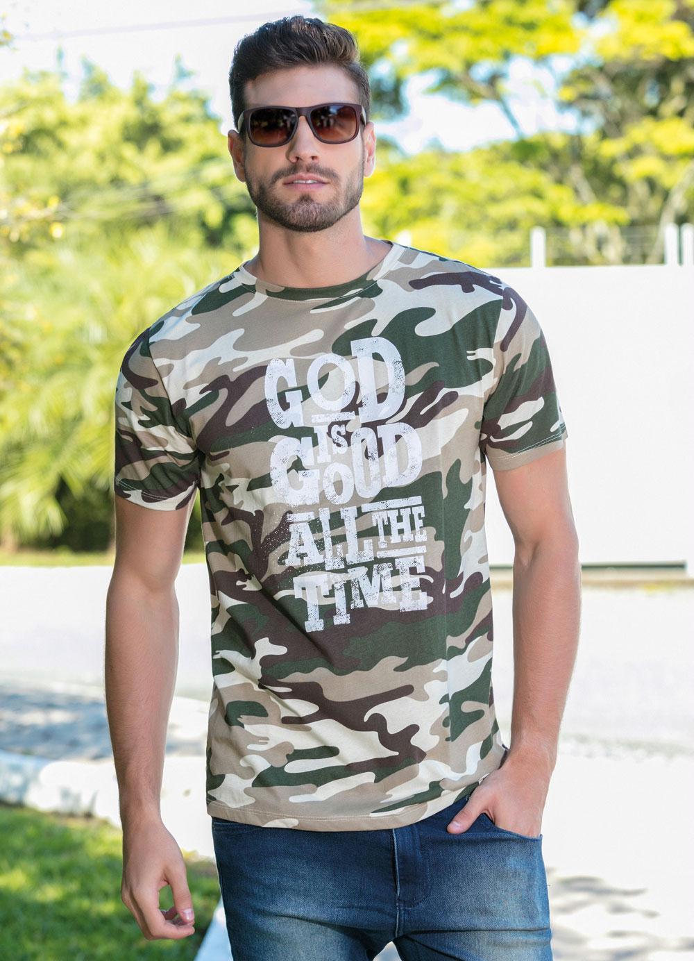 d560109e1f Camiseta Masculina Camuflada com Estampa Frontal - Moda Pop