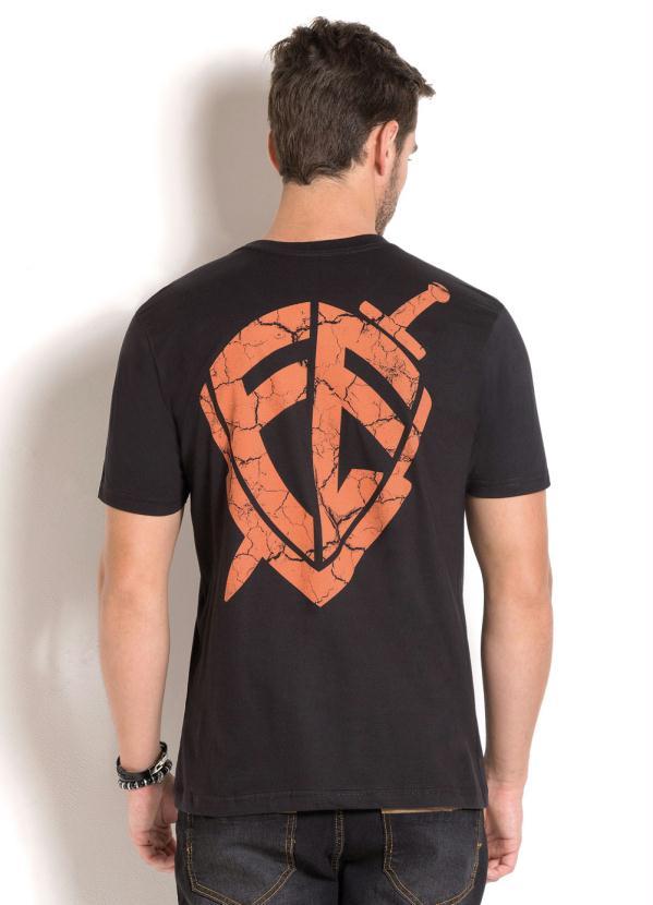 e59863a223 Queima estoque - Camiseta Preta com Estampa Frontal e Costas ...