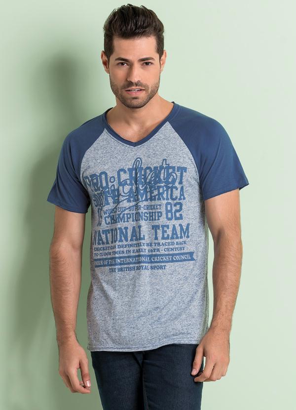Camiseta Raglan Manga Curta Azul - Queima de Estoque c881c2b14286e