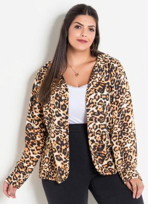 63770d311f Marguerite - Blazer Animal Print Onça Plus Size Marguerite