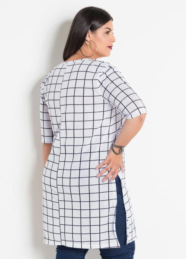 57749be6d8 Marguerite - Blusa Alongada Xadrez Grid Plus Size Marguerite ...