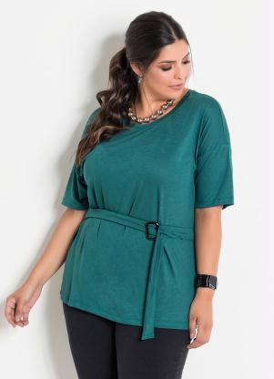 4a6da0ea0 produto Marguerite - Blusa com Faixa e Fivela Verde Plus Size