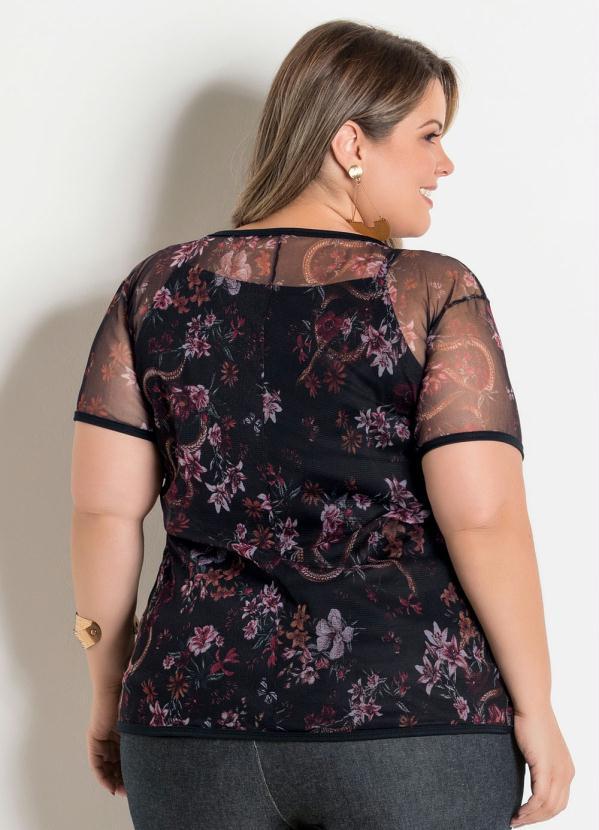 e00ccb1a2 Marguerite - Blusa em Tule Plus Size Floral Dark - Marguerite