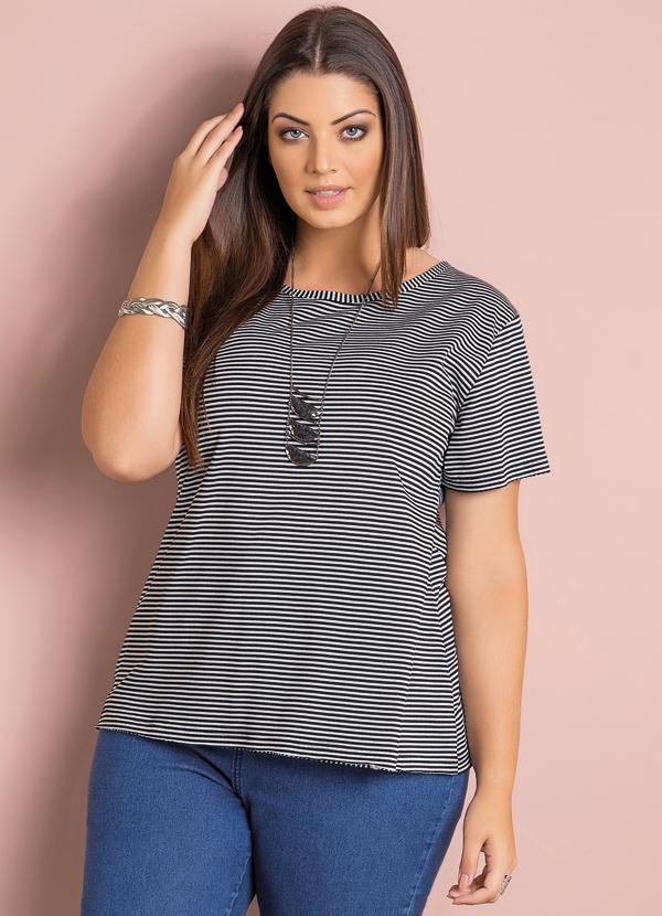 4f7a361e0 Quintess - Blusa Listrada Plus Size - Quintess