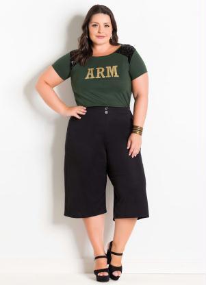 Blusa Verde Militar com Detalhes de Paetes