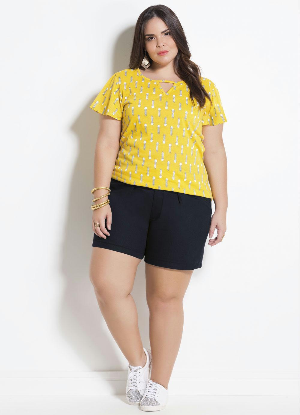 ec3fbba4e1 T-Shirt Cactos com Tira Marguerite Plus Size - Marguerite