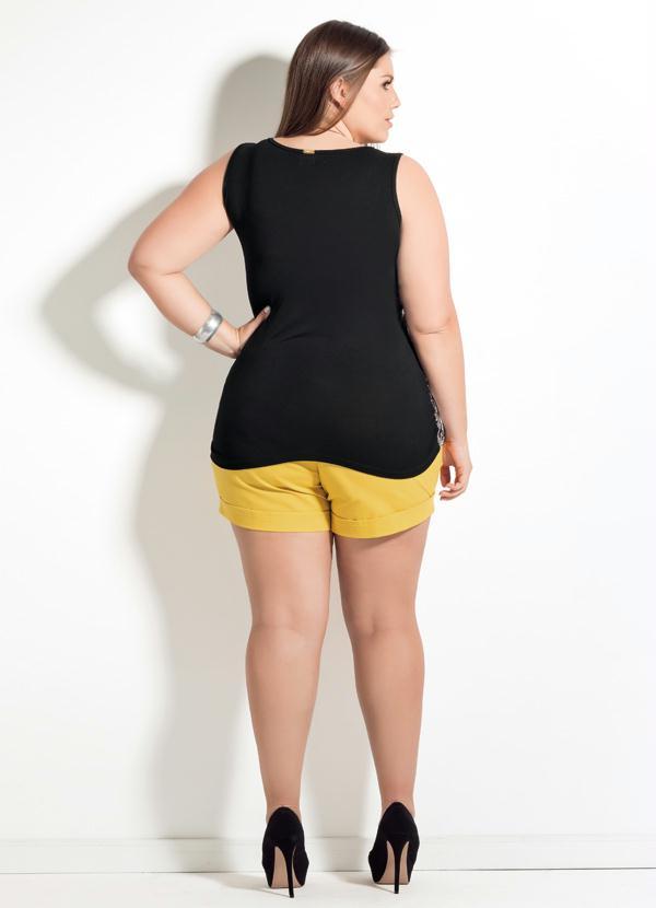 f72ee80ee9 Quintess - Blusa de Cetim Quintess Coqueiros Plus Size - Quintess