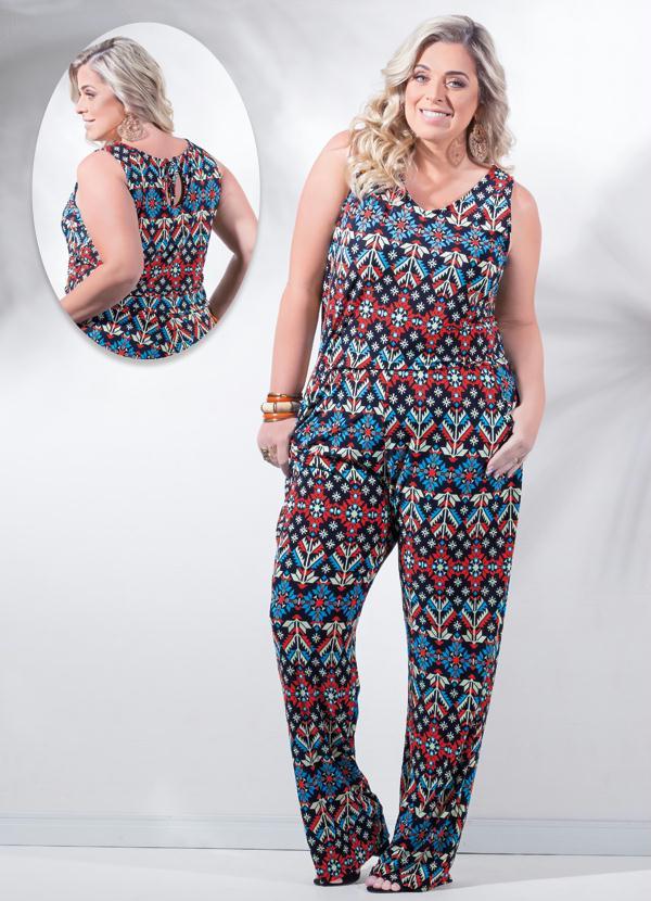 bec2e9457 Macacão Floral Geométrico Vermelho Plus Size - Marguerite