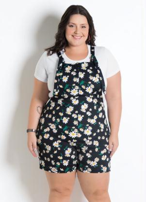 ec766e7a2 Marguerite - Jardineira com Alças Plus Size Floral Dark