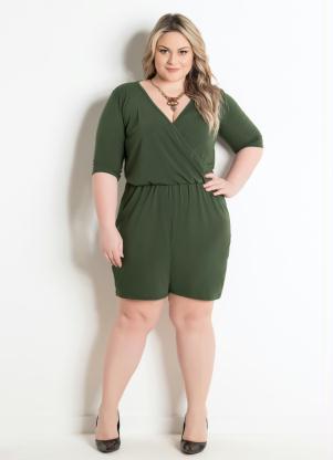 Macaquinho Verde Militar Plus Size Marguerite