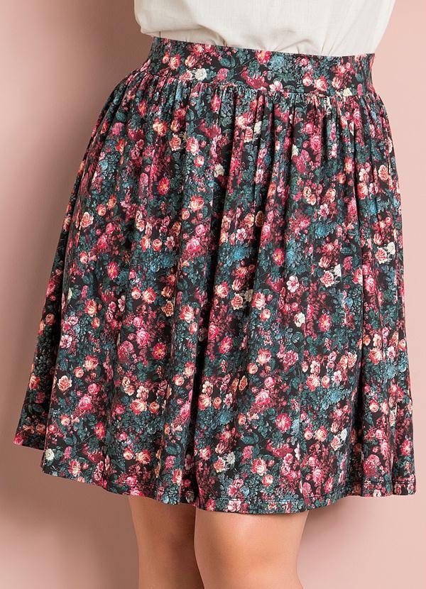 274a088819 Saia Evasê Floral Plus Size - Quintess