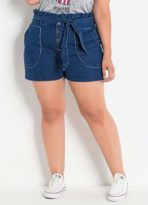 792fc8576 produto Short Jeans Clochard Plus Size com Amarração