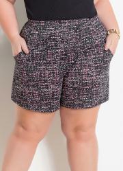 Shorts com Bolsos Abstrato Marguerite Plus Size