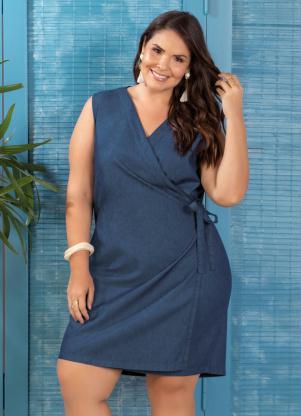a43393aed Marguerite - Vestido Envelope Jeans Plus Size Jeans