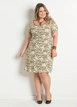 Vestido Camuflado Plus Size Marguerite