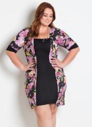 Vestido com Sobreposição Plus Size Floral Preto