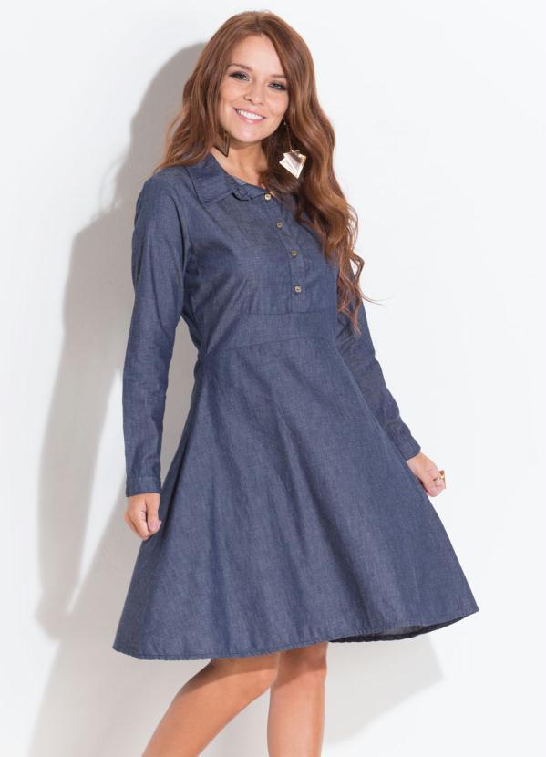 71254a895d Quintess - Vestido Quintess Jeans com Botões Frontais - Quintess