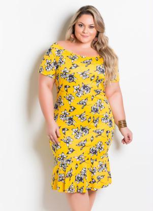 eb2ce8e6f9 Marguerite - Vestido Ombro a Ombro Plus Size Floral Amarelo