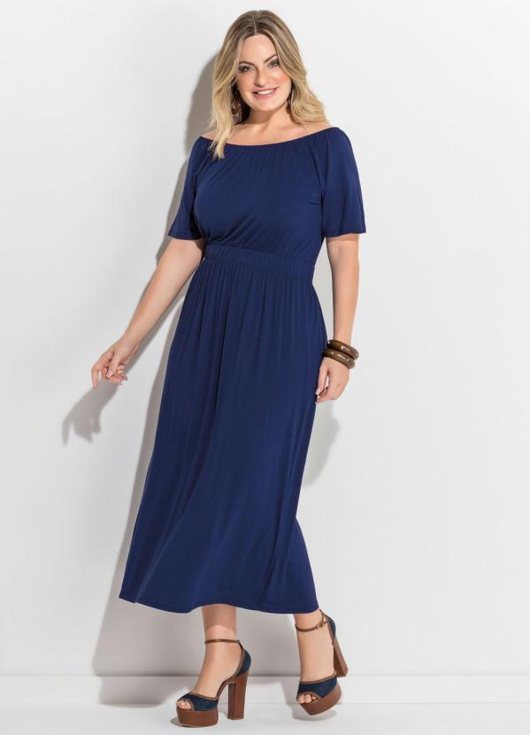 477de6e5e Quintess - Vestido Midi Azul Marinho Plus Size Quintess - Quintess