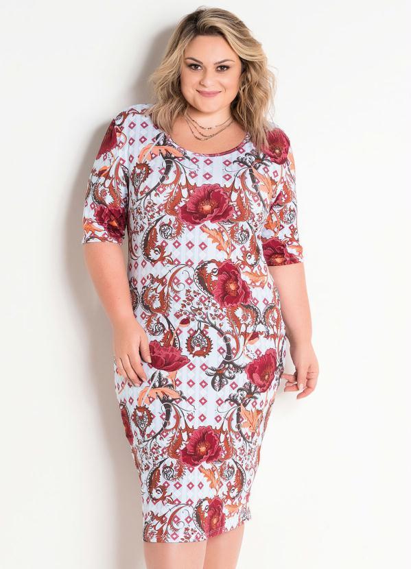 3abbcd7236 Vestido Midi Malha Texturizada Étnico Plus Size - Marguerite