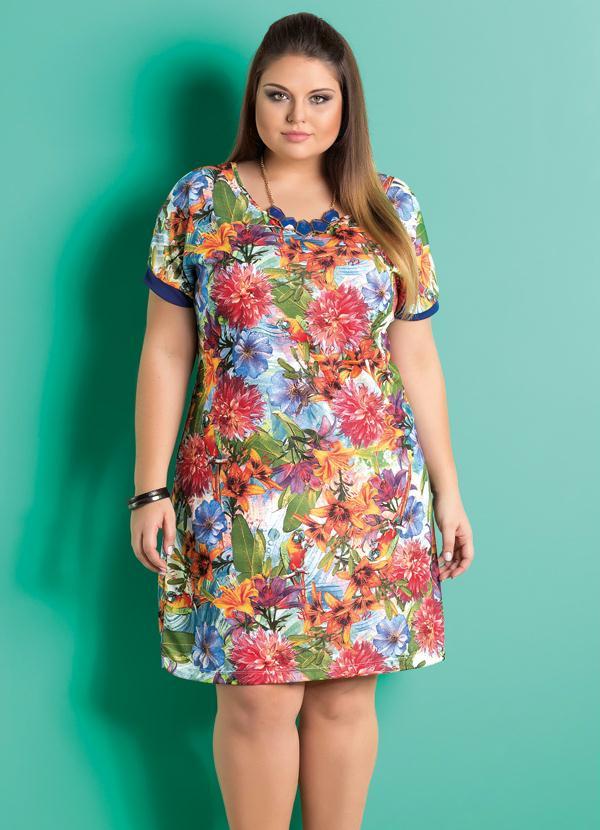 19ce03665b4f Marguerite - Vestido Decote Redondo Floral Plus Size - Marguerite