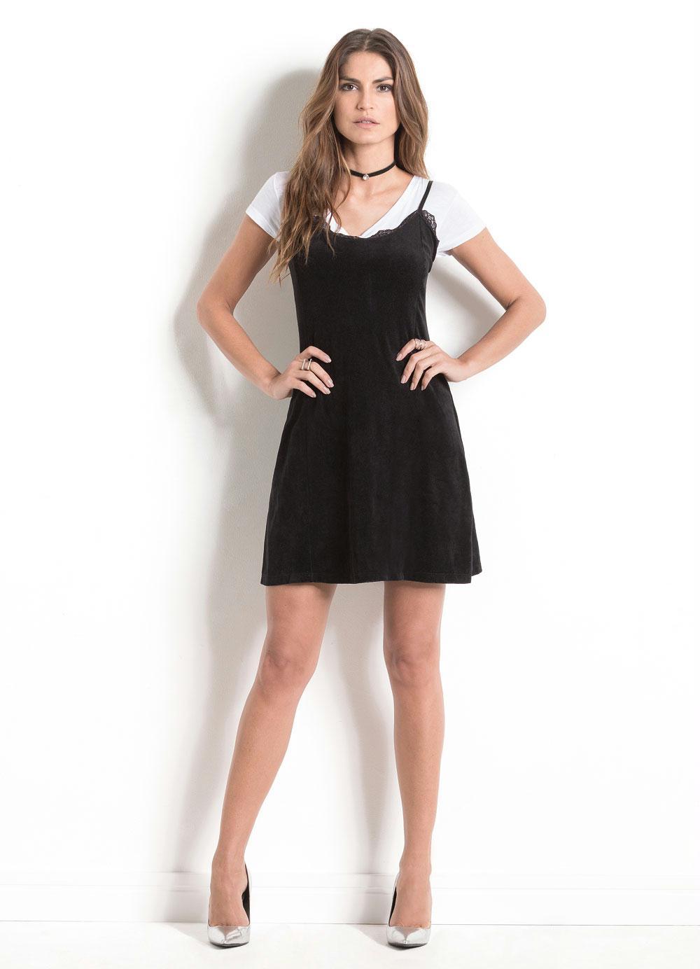3b8107013 Vestido Slip Dress Quintess em Plush Preto - Quintess