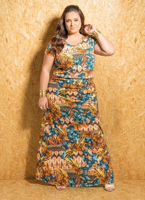 8e8b206f881b6c Marguerite - Vestido Longo com Mangas Estampado Plus Size
