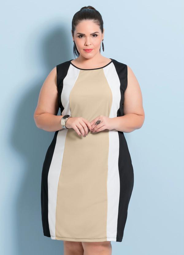 Posthaus Vestido Bicolor Plus Size Púrpura E Branco. Vestido ... ad41d82ee21