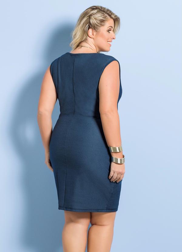 087e41ac38d69 Marguerite - Vestido Cotton Jeans Azul Marguerite Plus Size - Marguerite