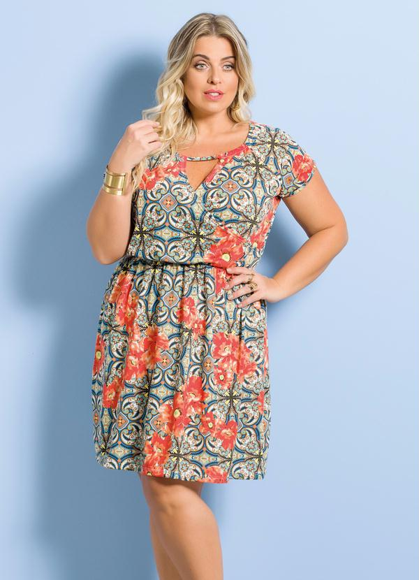 76fdc04303 Vestido Marguerite Mix de Estampas Plus Size - Marguerite