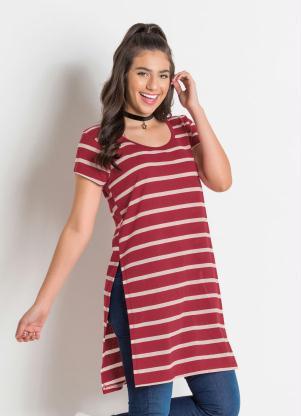 d128c77d3 Moda Pop - Maxi T-Shirt Juvenil Listrada com Fenda Lateral