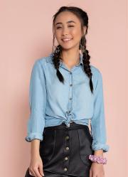 Camisa Jeans Manga Longa com Botões