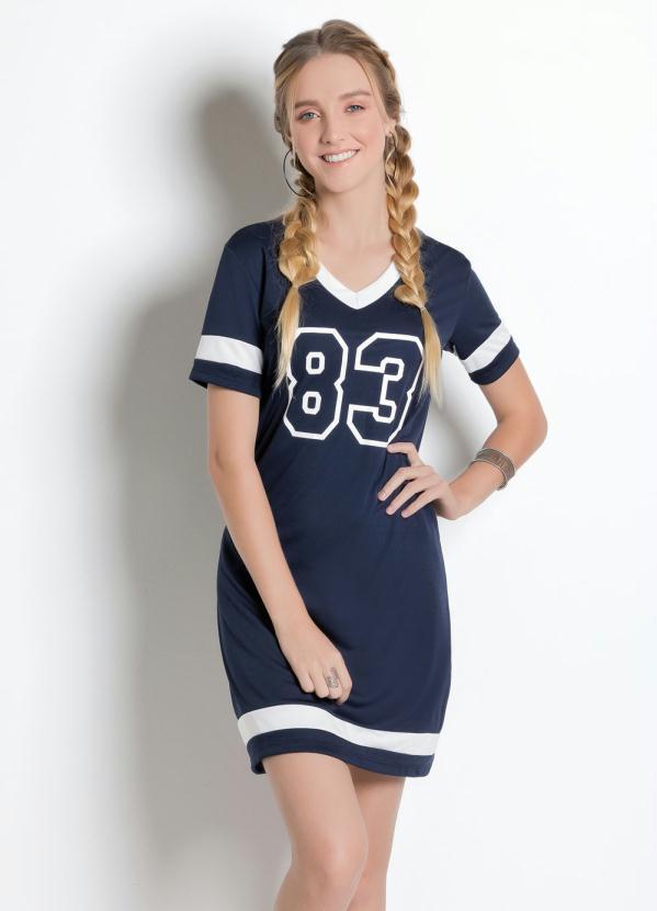 Queima Estoque Vestido Camiseta Com Estampa Number Azul