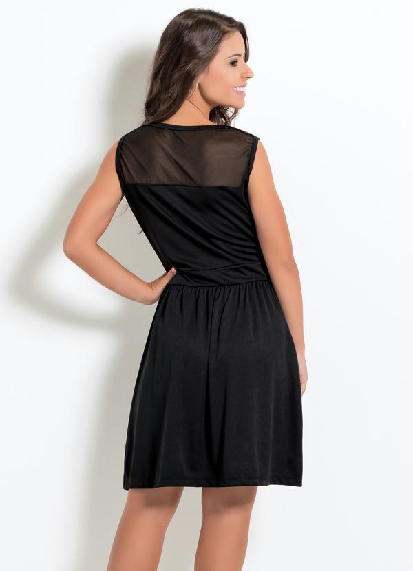 394baf3acf Moda Pop - Vestido Preto com Tule no Decote - Moda Pop