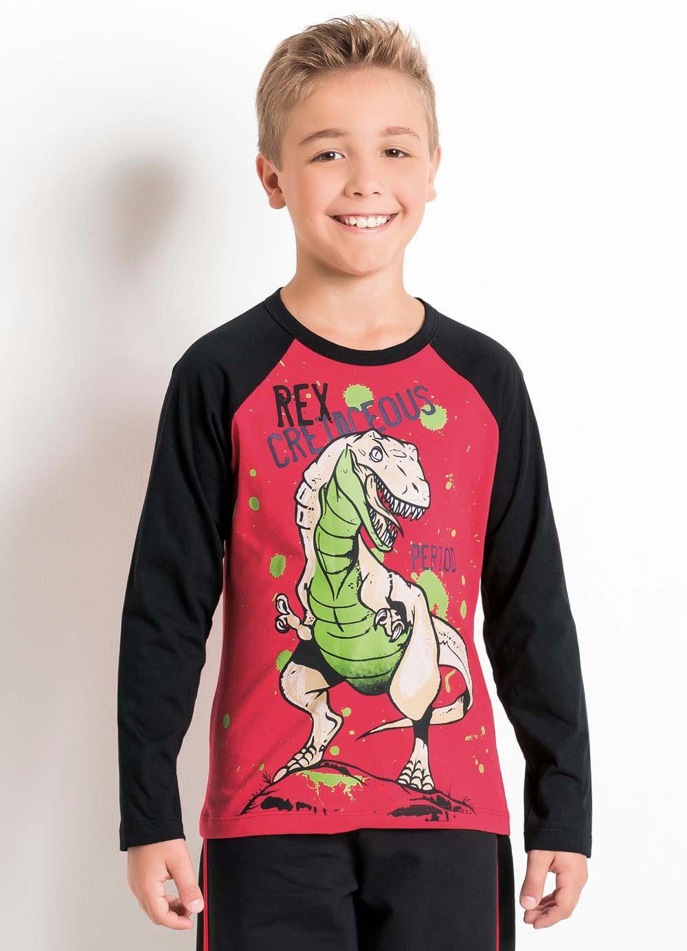 2b29dec8a315e Camiseta Infantil Preta e Vermelha Manga Raglan - Queima de Estoque