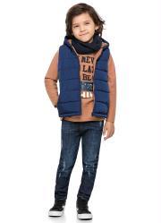 Colete com Capuz Infantil Azul