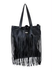 Bolsa Tote Quintess Preta com Franjas 5d4696110a1
