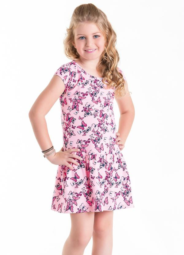 Moda Pop - Vestido Infantil Rosa com Borboletas